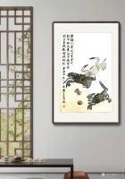 艺术家石广生日记:国画螃蟹《金戈铁甲》,辛丑年仲秋石广生创作,附装裱效果图。【图2】