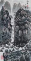 艺术家刘开豪日记:国画山水画《清泉》, 竖幅 作品尺寸34cmX68cm。【图0】