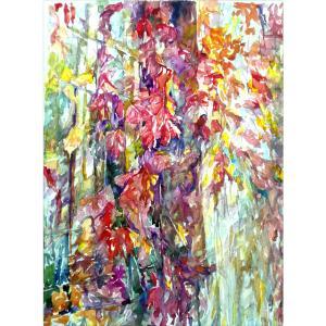 王积强油画作品《【窗外红叶】作者王积强》价格4800.00元