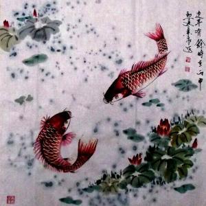 周兰辰国画作品《【年年有余】作者周兰辰》价格432.00元