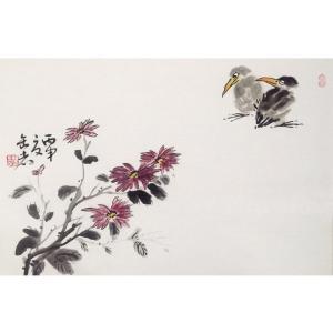 曹金华国画作品《【两鸟四花】作者曹金华》价格480.00元