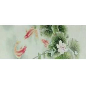 林丽姐国画作品《【荷塘与鱼】作者林丽姐》价格1080.00元