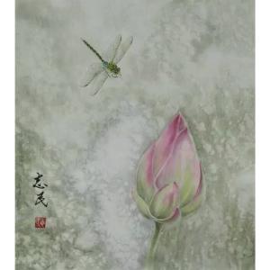 赵志民国画作品《【荷尖蜻蜓】作者赵志民》价格3600.00元