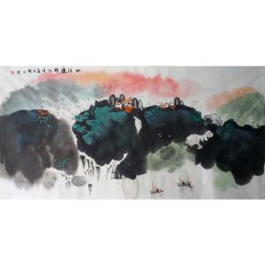 高隆正国画作品《【山溪渔归】作者高隆正》价格2400.00元