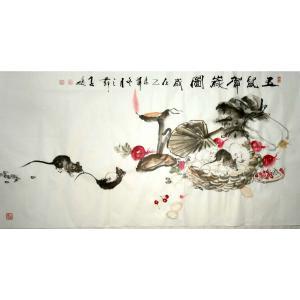 柳子峻国画作品《【玉鼠贺岁图】作者柳子峻》价格4800.00元