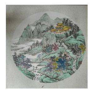 陈奇培国画作品-《【圆形软卡】作者陈奇培 临摹》