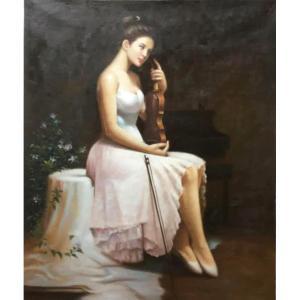 朱世想油画《【琴女】作者朱世想 临摹》