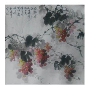 徐如茂国画《【葡萄成熟了】作者徐如茂》