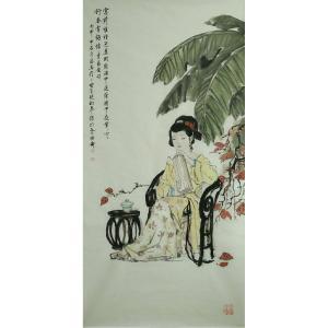 于波国画作品《【坐藤椅的少女】作者于波》价格4800.00元