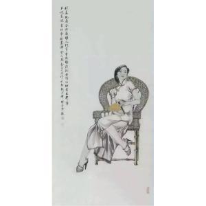 于波国画作品《【持扇少女图】作者于波》价格4800.00元