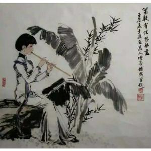 于波国画作品《【吹箫少女图】作者于波》价格2880.00元