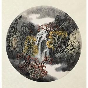 原东平国画作品《【秋水瀑布】作者原东平》价格21600.00元