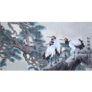 赵建乐国画作品《【松龄鹤寿】作者赵建乐》价格480.00元