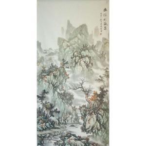 王凌云国画作品《【曲径观瀑图】作者王凌云》价格2400.00元