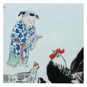 王福秋国画作品《【孩童喂食】作者王福秋》价格19200.00元