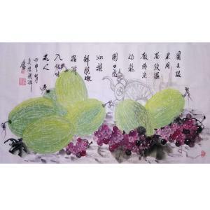 张洋国画作品《【哈密甜瓜】作者张洋》价格2400.00元