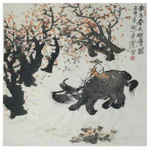 丁洪运国画作品《【牧童图】作者丁洪运》价格720.00元