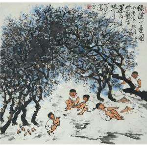 丁洪运国画作品《【绿荫童子图】作者丁洪运》价格720.00元