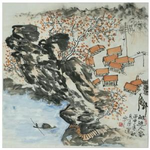 丁洪运国画作品《【屋舍泛舟图】作者丁洪运》价格450.00元