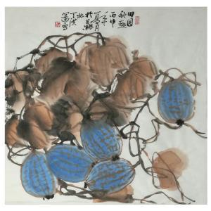 丁洪运国画作品《【田园秋趣】作者丁洪运》价格720.00元
