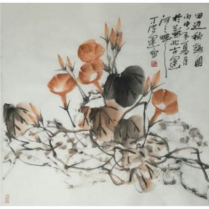丁洪运国画作品-《【田边秋趣图】作者丁洪运》