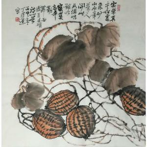 丁洪运国画作品-《【瓜熟蒂落】作者丁洪运》