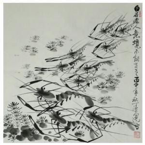 丁洪运国画作品-《【白石老人意境】作者丁洪运》