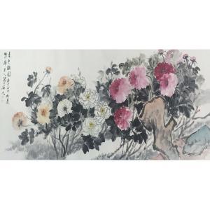 张大石国画作品《【春色满园】作者张大石》议价