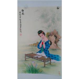 徐景莲国画作品《【仕女抚琴2】作者徐景莲》价格700.00元