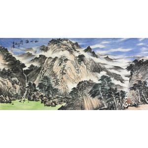 尹站前国画作品《【山村】作者尹站前》价格9600.00元