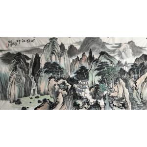 尹站前国画作品《【雨后江邨】作者尹站前》价格9600.00元