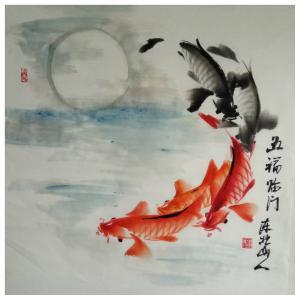 王学东国画作品《【五福临门1】作者王学东》价格432.00元