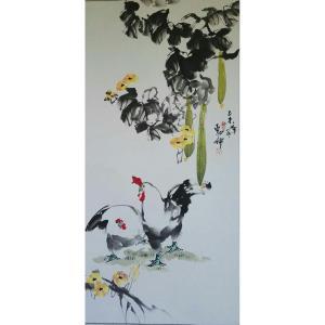 潘劲伸国画作品《【大公鸡】作者潘劲伸》价格9600.00元