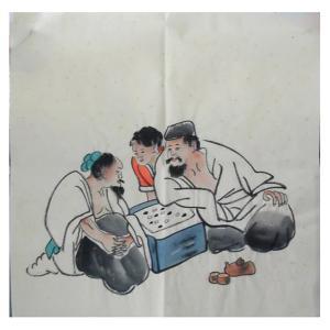 朱德宾国画作品《【老者对奕】作者朱德宾》价格200.00元