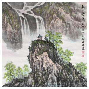 张怀林国画作品《【泰山飞瀑3】作者张怀林》价格312.00元