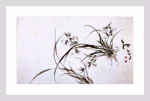 周牧天国画作品《水墨兰花》价格1800.00元