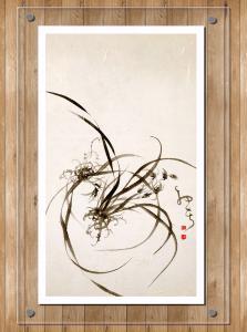 周牧天国画作品《水墨兰花》价格1300.00元