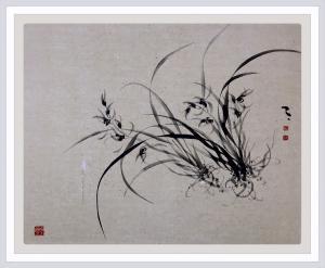周牧天国画作品《水墨兰花》价格2000.00元