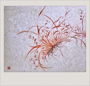 周牧天国画作品《朱砂兰》价格2500.00元