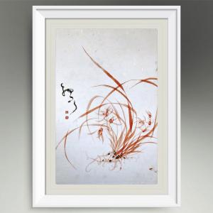 周牧天国画作品《朱砂兰》价格1500.00元