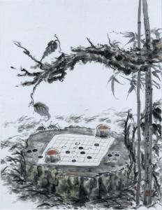 黄东辉国画作品《【对棋图】作者.黄东辉》价格13200.00元
