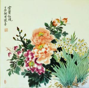 卢凤喜国画作品-《花开富贵》