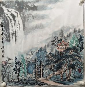 赵运泉国画作品《观瀑图》价格2000.00元