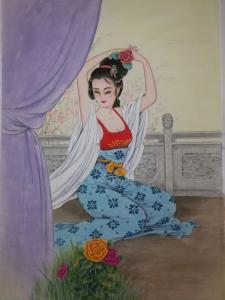 徐景莲国画作品《簪花图》价格700.00元