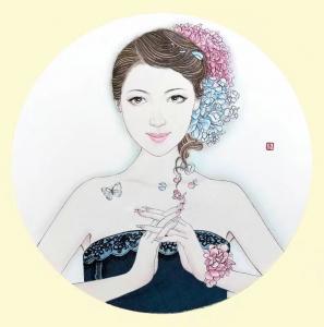 刘晓宁国画《工笔人物》