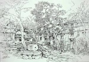 阎敏国画《太行山写生》