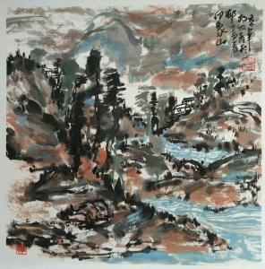 杨牧青国画作品《印象山村》价格12000.00元