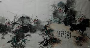 邢坤国画作品《荷塘情趣》议价