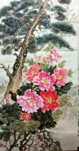 李国庆国画作品《牡丹苍松》价格300.00元