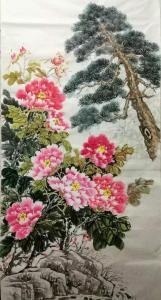 李国庆国画作品《牡丹苍松》价格200.00元